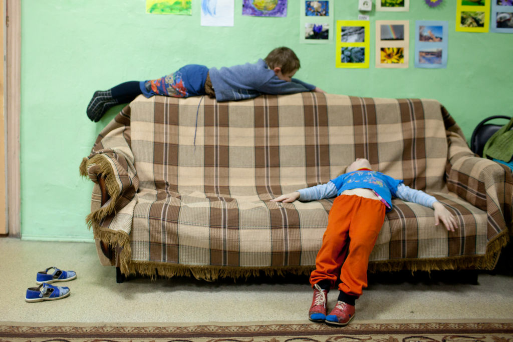 Orphan children at the Nelidovo Rehabilitation Center for Children and Youth with Disabilities in Russia.