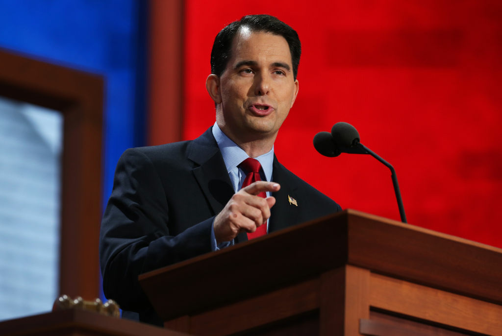 Wisconsin Gov. Scott Walker speaks during the Republican National Convention at the Tampa Bay Times Forum on August 28, 2012 in Tampa, Florida.