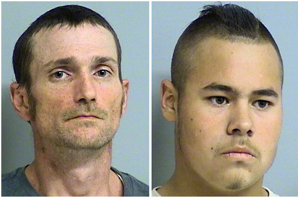 Alvin Watts, 32, left, and Jacob England, 19, were arrested following a tip from the public to help police solve the five shootings that happened last Friday in Oklahoma City, Oklahoma.