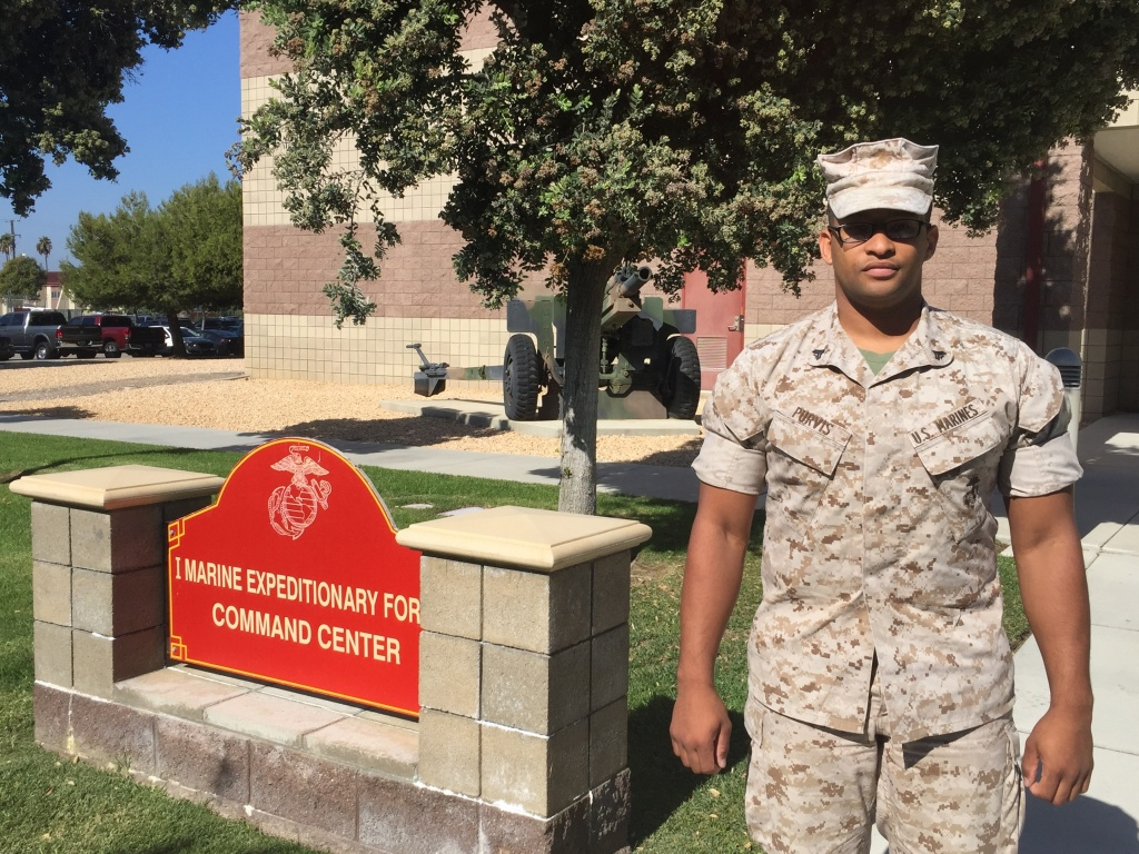 Cpl. Fabian Purvis' last day in the Marine Corps is November 14th 2016. He's looking to transition to a job with the San Diego Sheriffs Department.