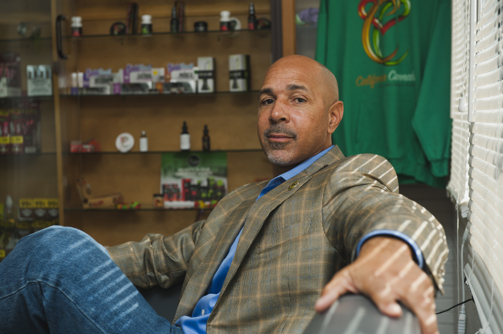 Marijuana mogul Virgil Grant poses for a portrait at Med X, a dispensary in Westmont that he owns, on Friday, Dec. 1, 2017.