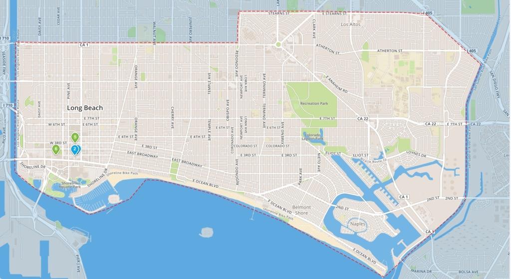 A map of the Long Beach Bike Share program's area.