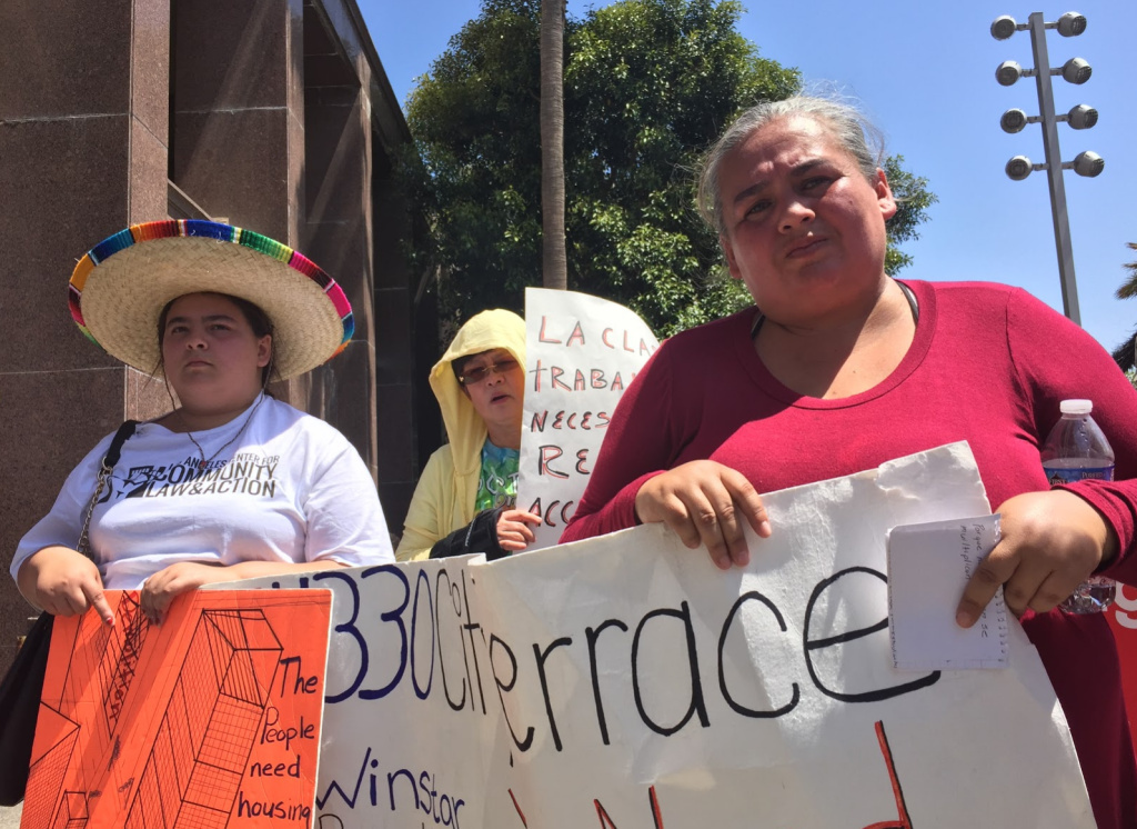 Carolina Rodriguez joined other tenants in calling for more tenant protections in unincorporated areas of Los Angeles County like East L.A., where she lives.