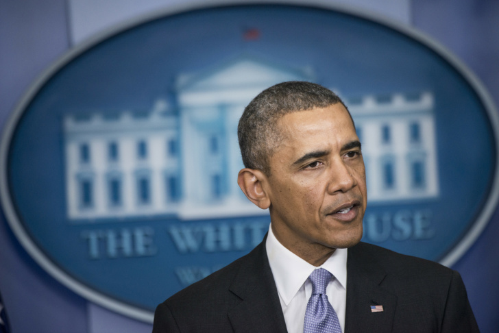 US President Barack Obama speaks about the situation in Ukraine in the briefing room of the White House on February 28, 2014 in Washington. Obama said he was 'deeply concerned' by reports of Russia military in Ukraine.