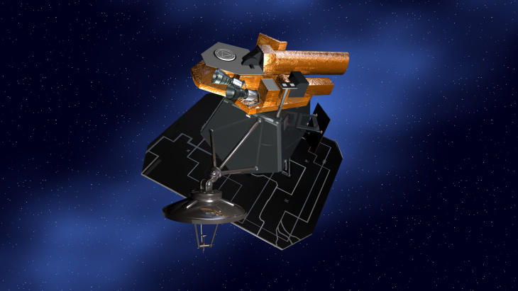 Artist's concept of NASA's Deep Impact spacecraft.