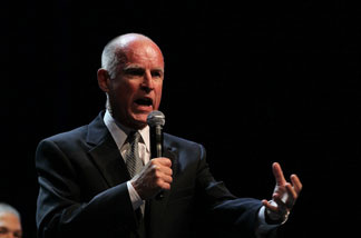 California Governor-elect Jerry Brown speaks to supporters as he celebrates his win during an election night party at Fox Theatre on November 2, 2010 in Oakland, California. Jerry Brown defeated republican challenger and former eBay CEO Meg Whitman.