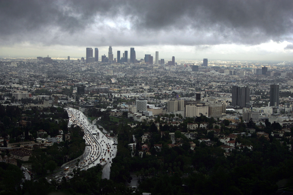 Downtown Los Angeles (top) and Hollywood (R) are visible during a short break in the rain as the region is under a tornado watch and Orange County is under a tornado warning February 22, 2005 in Los Angeles, California.
