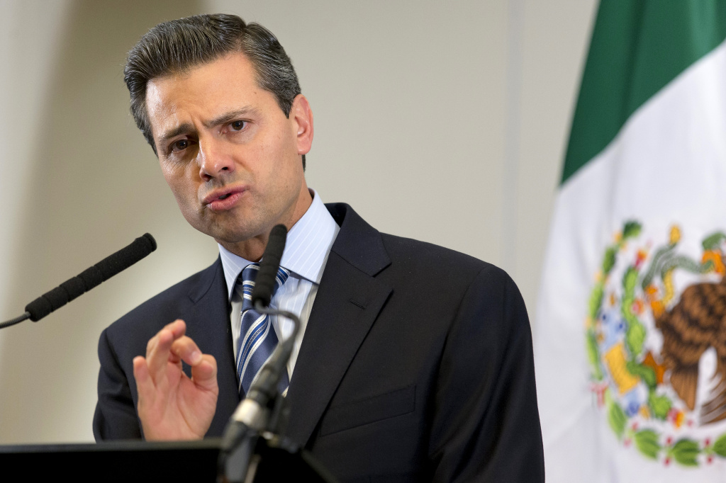 Mexican President Enrique Pena Nieto speaks during a press conference in Central London on June 18, 2013, following the G8 summit in Northern Ireland. Pena Nieto said that he joined G8 leaders in their decleration to crack down on the 'scourge' of illegal tax evasion.