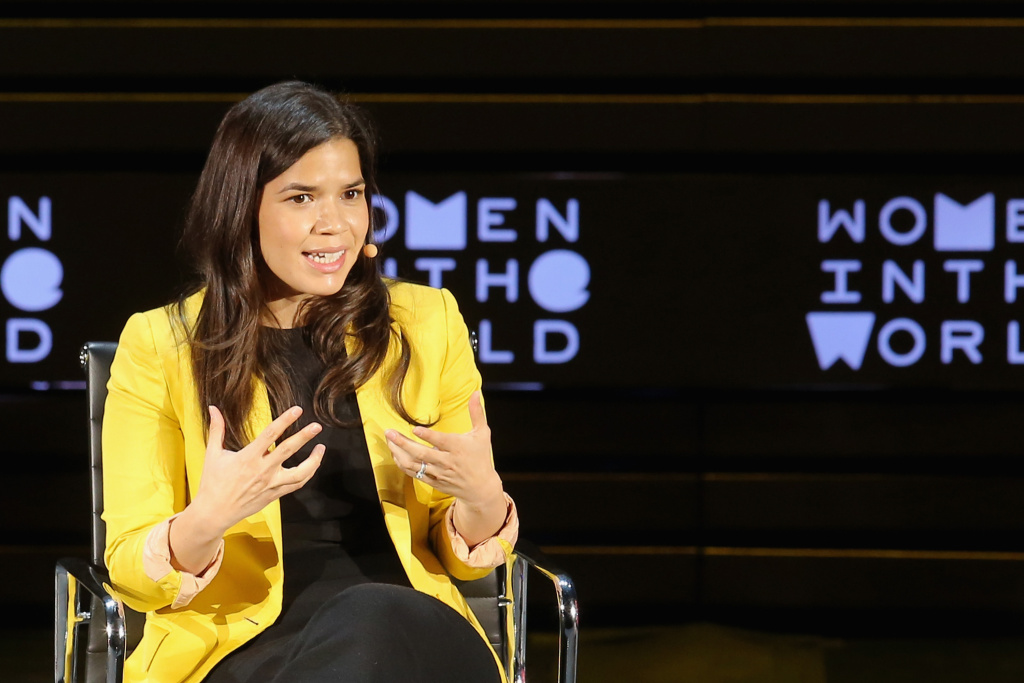 Actress America Ferrera speaks at the 2016 Women in the World Summit in New York City.