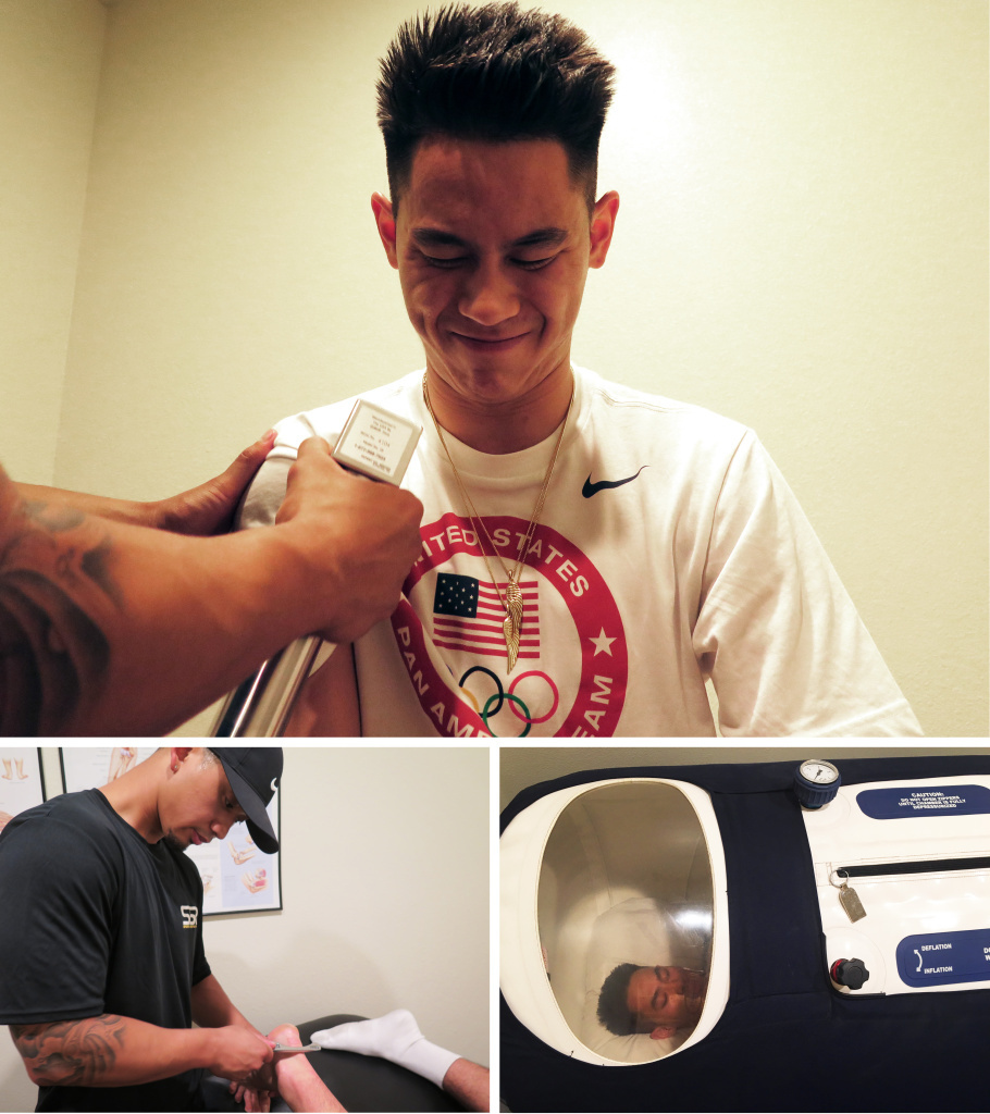 (Top) Shu receives deep muscle stimulation on his right shoulder. (Left) Physical therapist Ryan Reyes scrapes down Shu's Achilles tendon using a metal device called a Graston tool. (Right) Shu rests in a hyperbaric chamber, where he breathes pure oxygen that helps with recovery and performance.