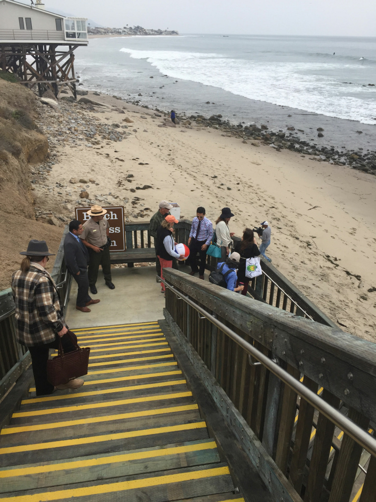 People check out the new stairway access to the beach along Malibu Road in Malibu during a grand opening ceremony on June 14, 2016.