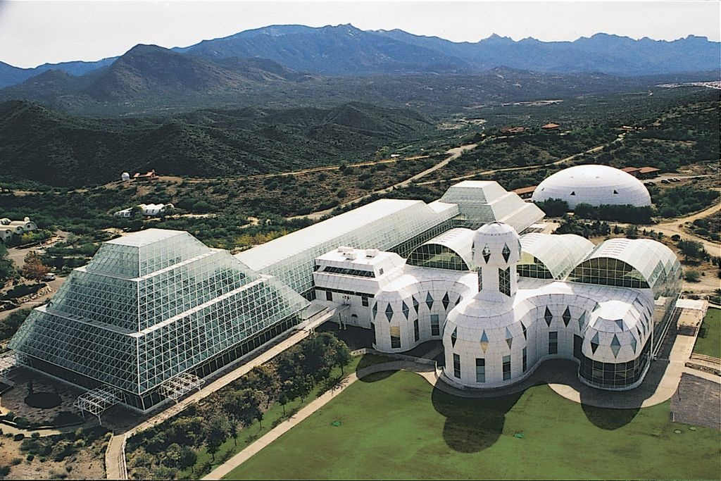 The famous (and infamous) Biosphere2 is now owned and operated as a science lab by the University of Arizona.