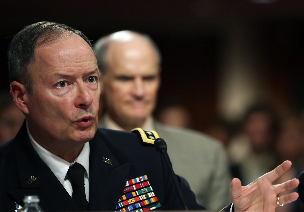 U.S. Army Gen. Keith Alexander, commander of the U.S. Cyber Command, director of the National Security Agency (NSA), testifies during a Senate Appropriations Committee hearing on Capitol Hill, on Wednesday.
