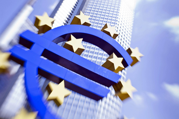 The European currency Euro logo stands in front of the European Central Bank (ECB) in Frankfurt/M., western Germany on August 4, 2011.