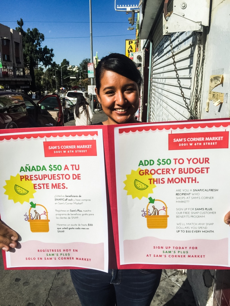Sandra Contreras of the Los Angeles Food Policy Council recruits CalFresh customers for the program, which offers up to $50 a month in vouchers to buy fruits and vegetables at Sam's Corner Market in MacArthur Park.