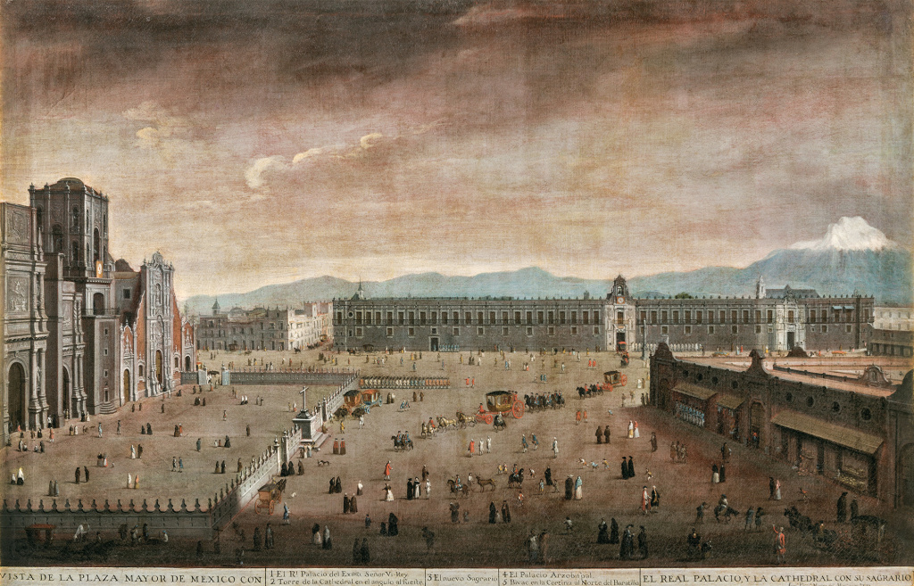 "Juan Patricio Morlete Ruiz, View of the Plaza Mayor (Vista de la Plaza Mayor), 1770. The painting is part of ""Painted in Mexico, 1700–1790: Pinxit Mexici,"" at LACMA through March 18, 2018."