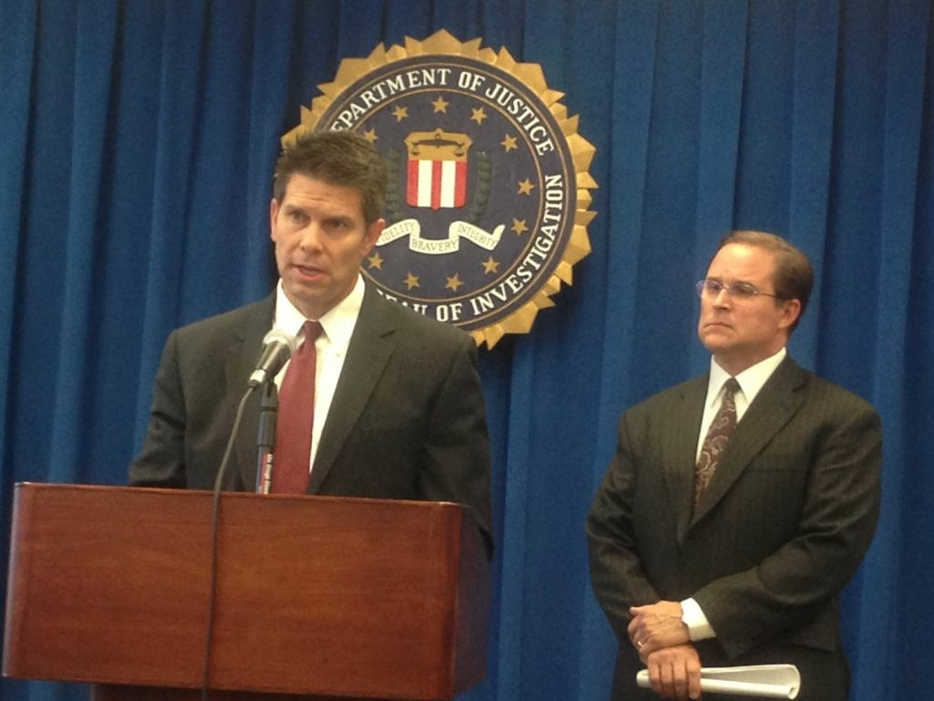 Special Agent in Charge of the Counterterrorism Division in Los Angeles, David Bowdich (left) and Assistant Director in Charge of the FBI's Los Angeles Field Office, Bill Lewis, discuss the Southern California suspects who were arrested on terror charges.