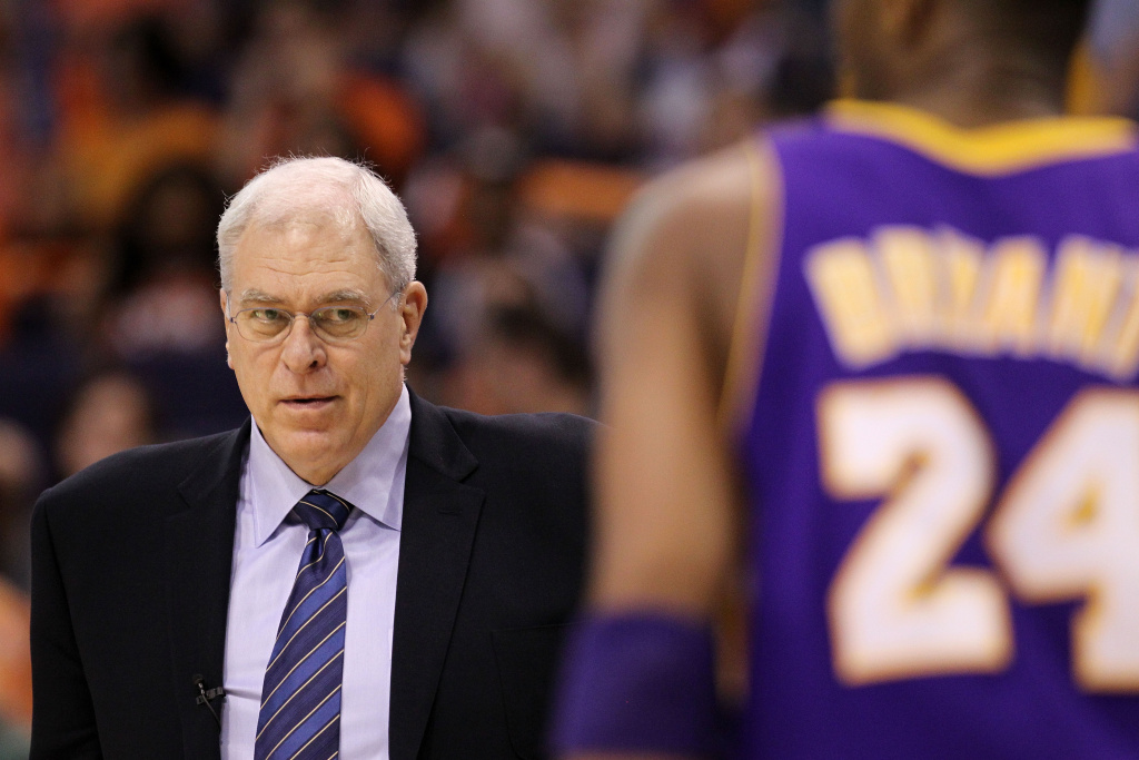 Head coach Phil Jackson of the Los Angeles Lakers looks on in the first quarter of Game Four of the Western Conference Finals against the Phoenix Suns during the 2010 NBA Playoffs at US Airways Center on May 25, 2010 in Phoenix, Arizona.