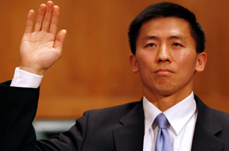 University of California at Berkley Law Professor Goodwin Liu swears an oath of truth before testifying to the Senate Judiciary Committee during his confirmation hearing to be U.S. Circuit Judge for the Ninth Circuit April 16, 2010 in Washington, DC.