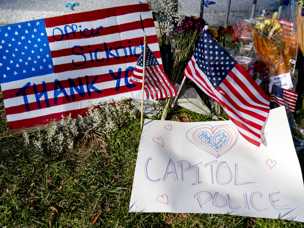 A memorial for U.S. Capitol Police Officer Brian Sicknick, who was killed by rioters in the Jan. 6 attack, is set up near the U.S. Capitol.