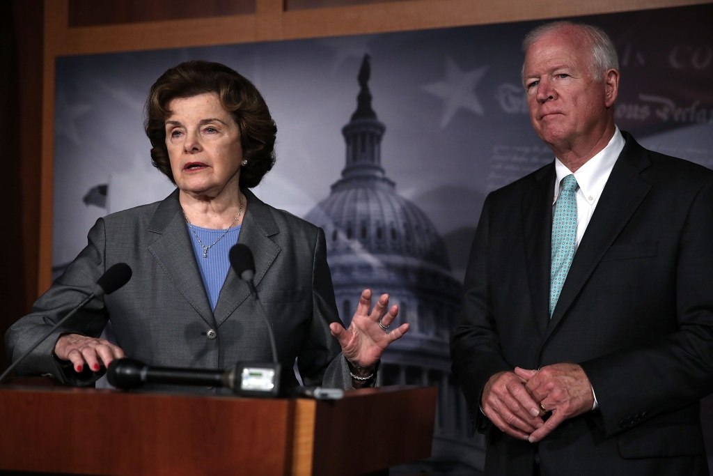Sen. Dianne Feinstein and Saxby Chambliss speak to members of the media about the National Security Agency (NSA) collecting phone records June 6.
