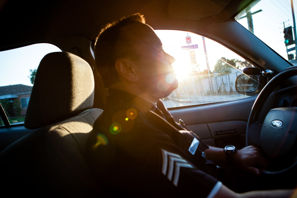 LAPD Sgt. Glenn McNeil of North Hollywood's compliance unit, heads out to check on an ex-prisoner.