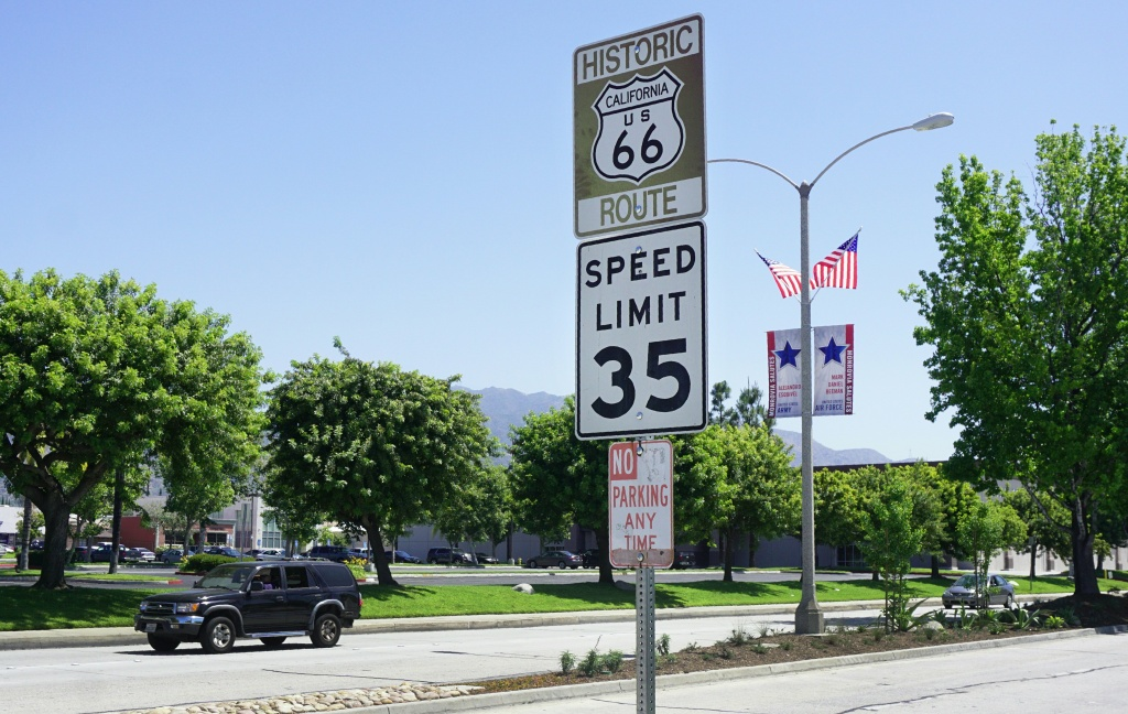 A Route 66 and speed limit sign is seen in Monrovia, California, on May 18, 2017.