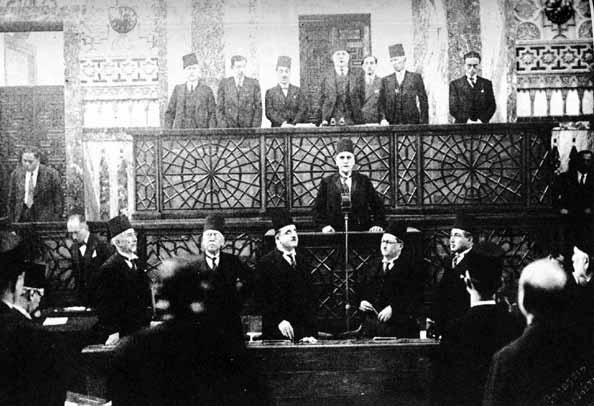 At the Syrian presidential inauguration of Hashim al-Atassi in Parliament on December 31, 1936.