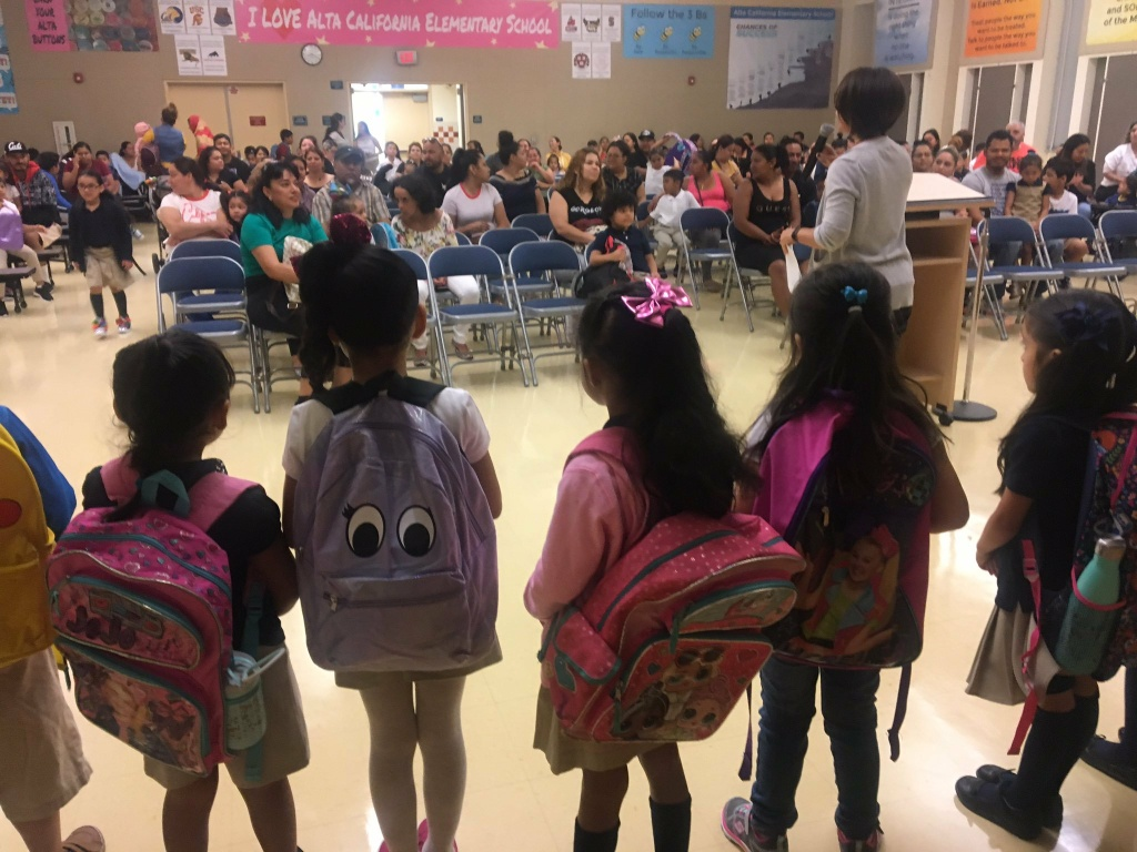 "Parents attended a ""welcome to school"" ceremony for their kindergartners on the first day of classes at Alta California Elementary School in Panorama City."