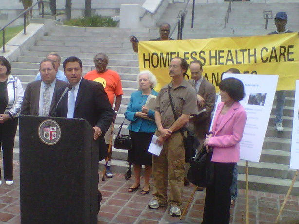 Los Angeles City Councilmember Jose Huizar at a news conference at LA City Hall regarding surplus food policy.