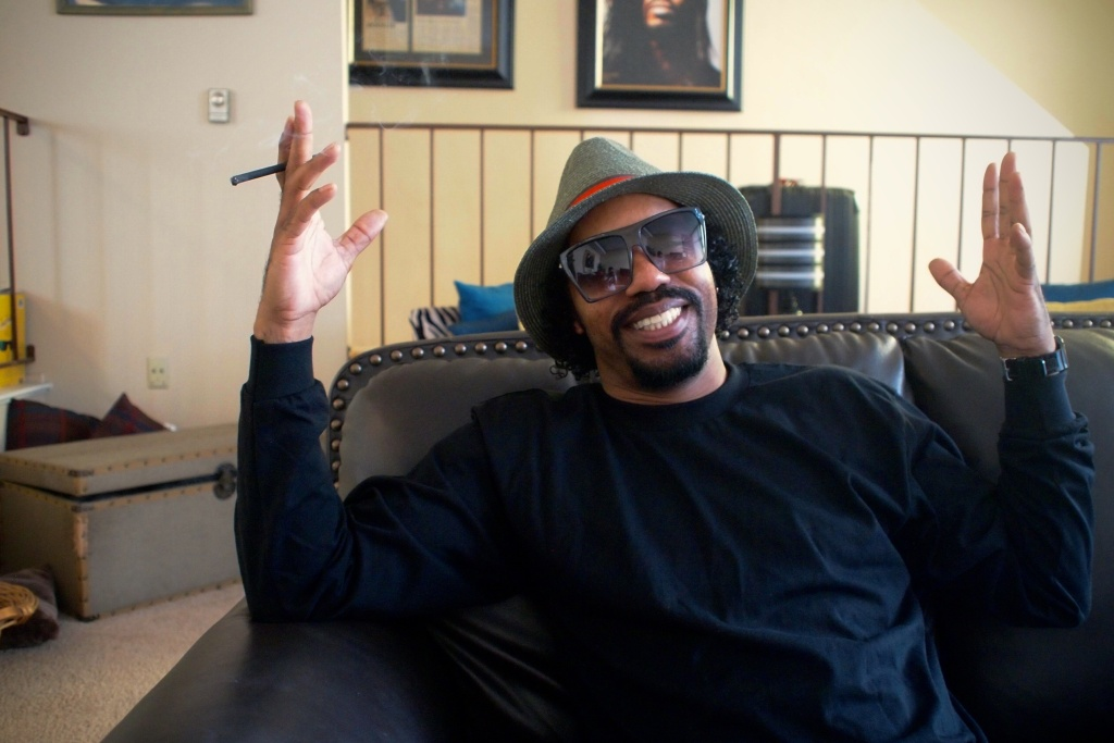 Producer and singer Dam Funk at home.