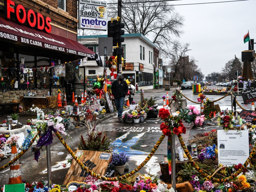 A makeshift memorial in Minneapolis honors George Floyd as jury selection begins in the trial of former police officer Derek Chauvin. Closing arguments in the trial are expected the week of April 19th.