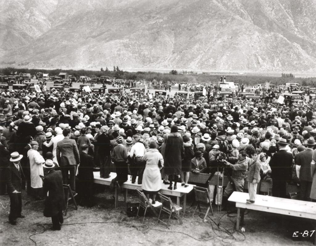 1933 Colorado River Aqueduct start of work celebration in Cabazon, CA.