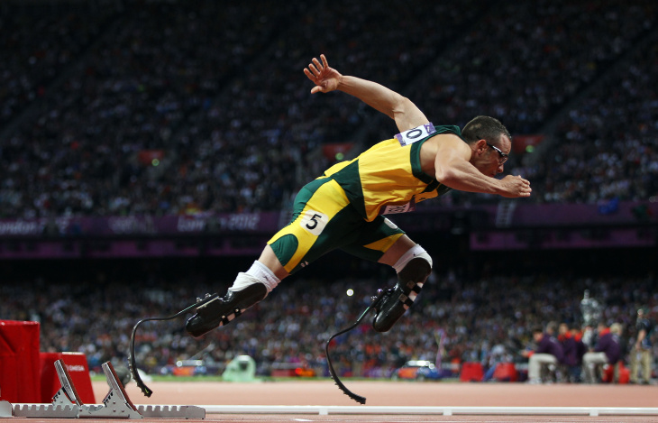 Oscar Pistorius of South Africa competes in the Men's 400m Semi Final on Day 9 of the London 2012 Olympic Games at the Olympic Stadium on August 5, 2012 in London, England.