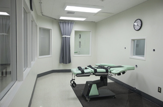 In this photo taken Tuesday Sept. 21, 2010, the death chamber of the new lethal injection facility at San Quentin State Prison.