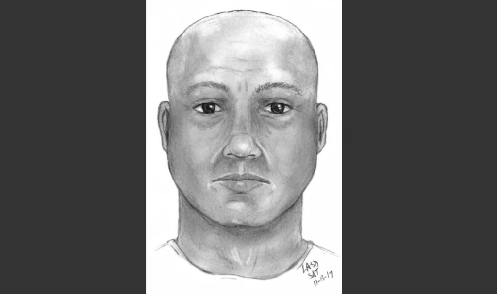 This is police sketch of the suspect. He was dressed in a uniform-style shirt and pants and was even equipped with a utility belt that included a pistol.