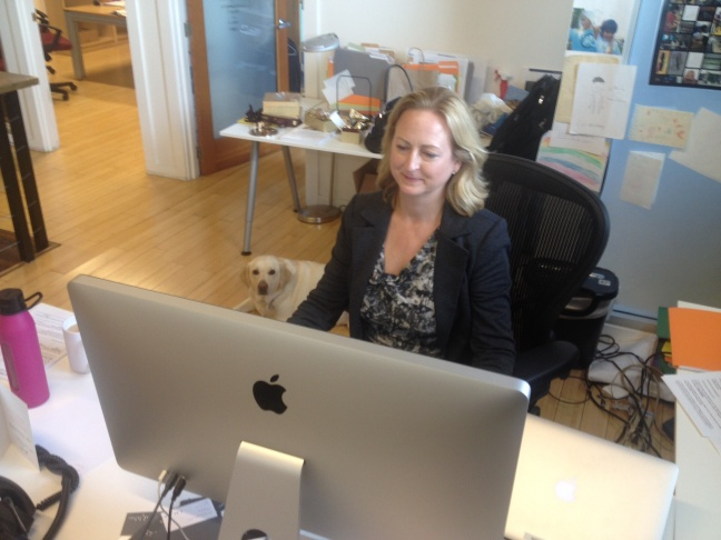 Mary Ann de Lares Norris is Chief Operating Officer of Oblong Industries.  She brings her dog LouLou to Oblong's downtown LA headquarters.