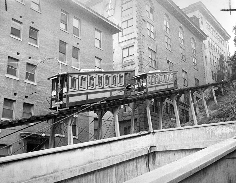 A photograph of Angels Flight dated July 21, 1962.