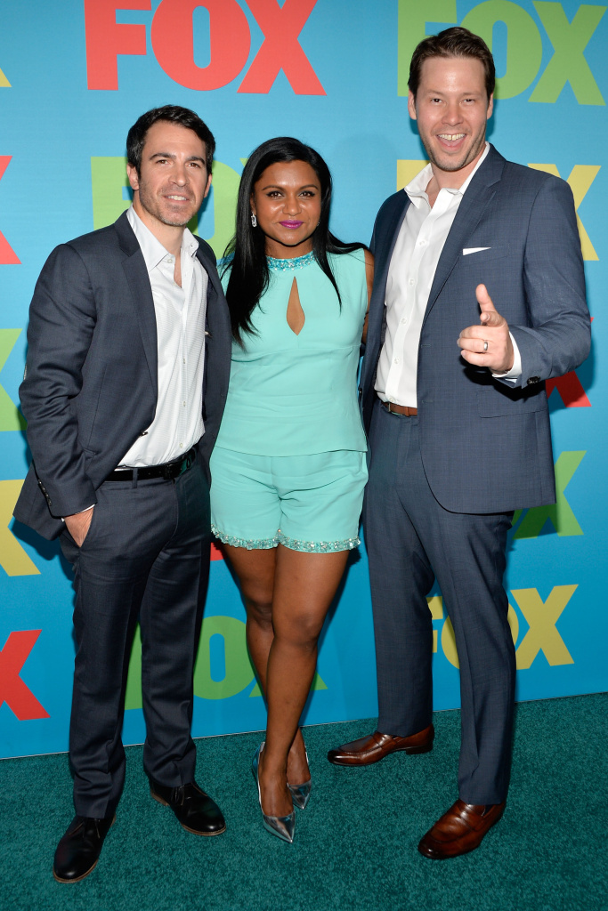 Chris Messina, Mindy Kaling and Ike Barinholtz attend the FOX 2014 Programming Presentation at the FOX Fanfront on May 12, 2014 in New York City.