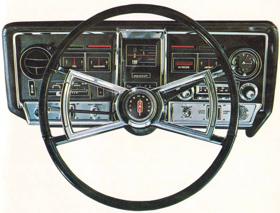 The Oldsmobile Toronado, with this startlingly beautiful instrument panel, was introduced in 1966