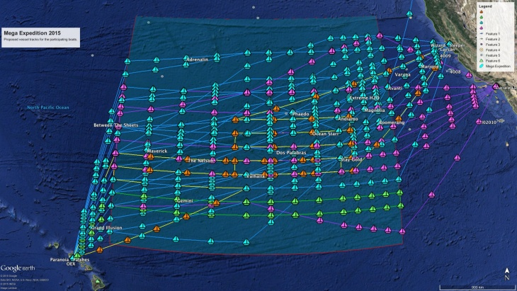 Map showing the 50 transects the Mega Expedition will perform based on routing information provided by the skippers before they left port.