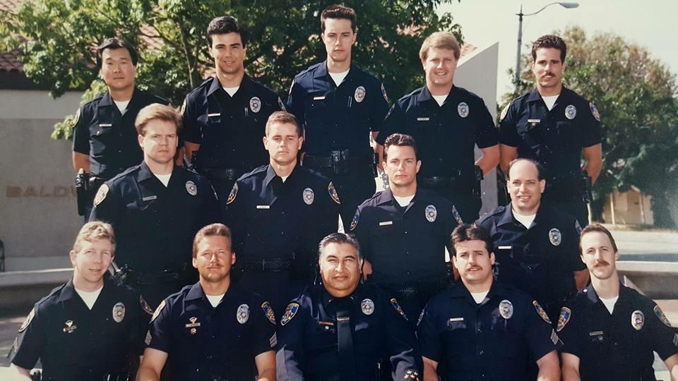 Steve Julian (bottom row, far left) in 1991, when he was a police officer.