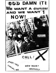 Drummer wanted flyer for the band X