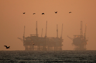 California brown pelicans fly near offshore oil rigs after sunset on July 21, 2009 near Santa Barbara, California.