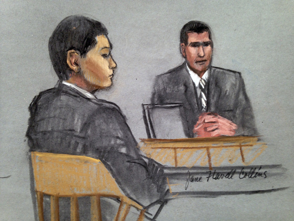 In this courtroom sketch, defendant Azamat Tazhayakov, left, a college friend of Boston Marathon bombing suspect Dzhokhar Tsarnaev, is depicted listening to testimony by FBI Special Agent Phil Christiana, right, during the first day of his federal obstruction of justice trial Monday, July 7, 2014 in Boston. Tazhayakov, of Kazakhstan, was convicted of conspiracy and obstruction of justice for removing Tsarnaev's backpack from his dorm room.