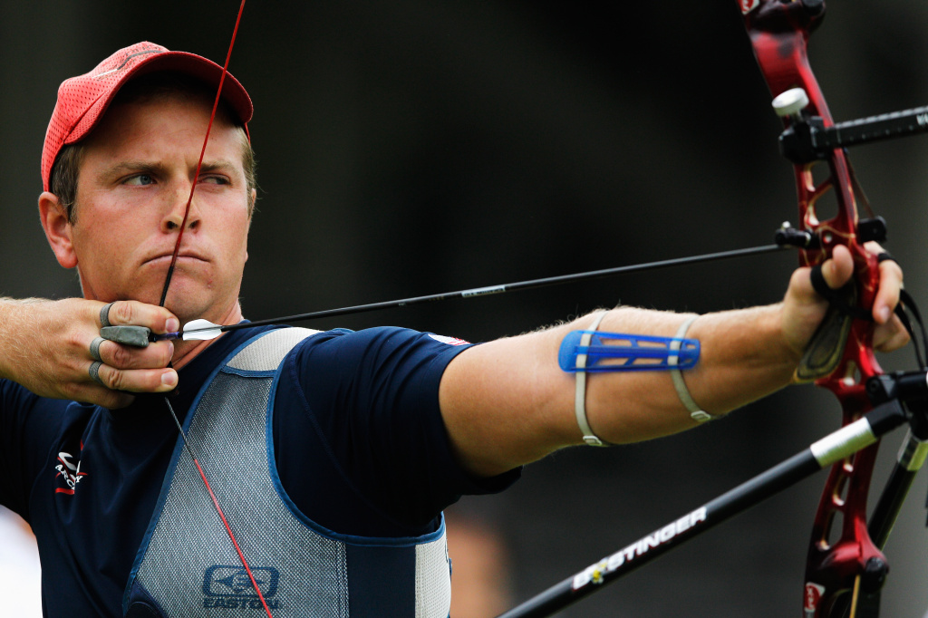 Joe Fanchin in action during the Gold Medal Final match between United States and Chinese Taipei in the Men's Team Eliminations during the London Archery Classic at Lord's Cricket Ground on October 4, 2011 in London, England.