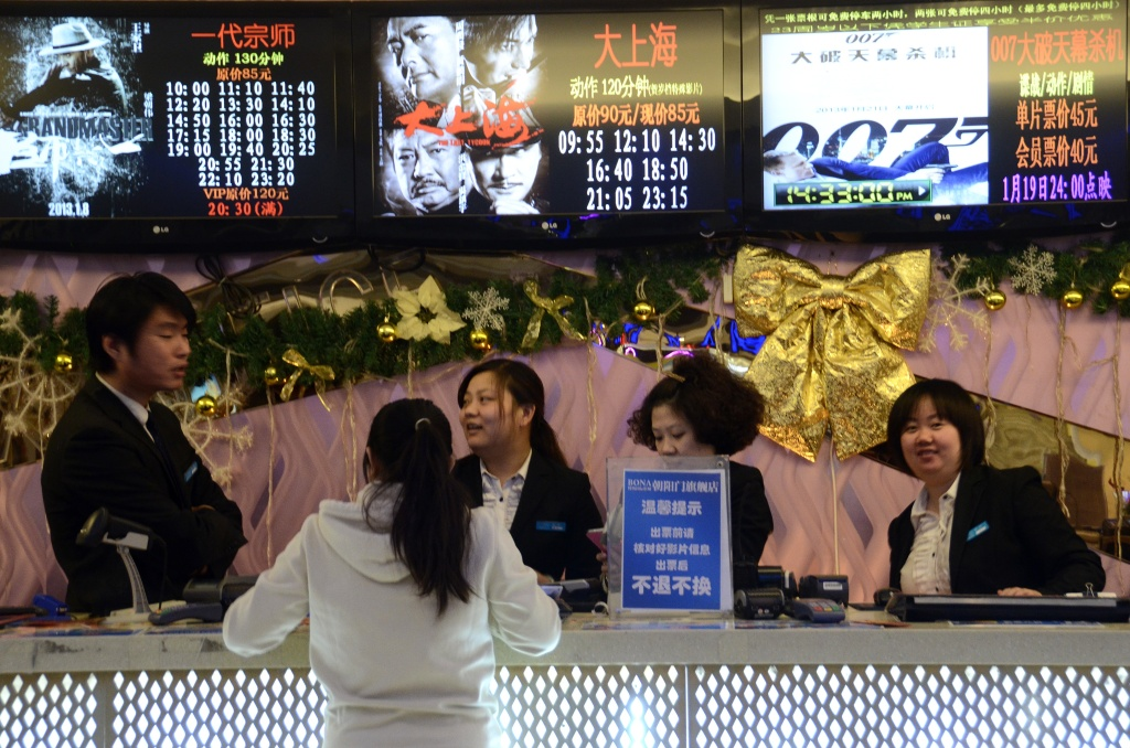 Beijing on January 10, 2013. Moviegoers in China spent 17 billion yuan (2.7 billion USD) on tickets last year, turning the country into the second-largest film market in the world, the state news agency Xinhua said on January 9.