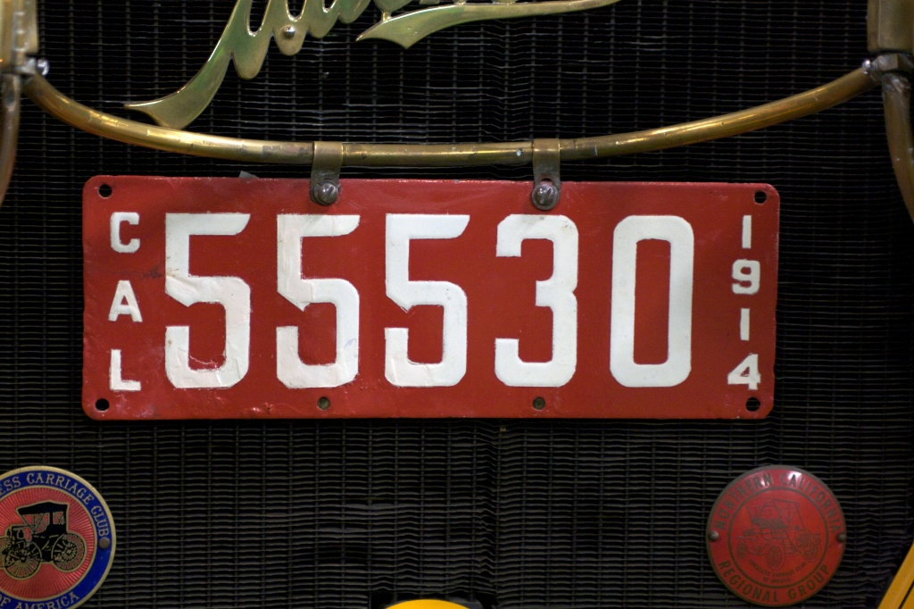 A vintage California license plate