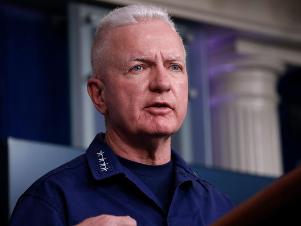Adm. Brett Giroir, who has been leading federal coronavirus testing efforts, speaks during one of the daily White House coronavirus task force briefings in April.