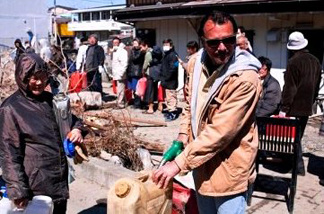 Riverside businessman Ted Honcharik is on a solo mission distributing free fuel to residents of Japan's battered northeast coast.